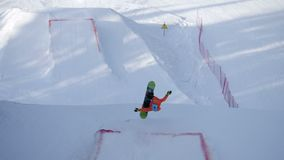 Extreme snowboarding and skiing stock video footage