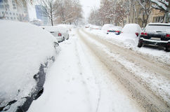 Extreme snowfall - empty roads Royalty Free Stock Photography