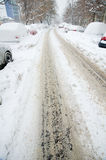 Extreme snowfall - empty roads Royalty Free Stock Images