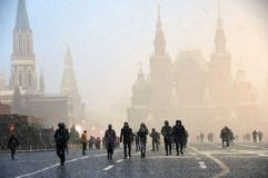 Extreme snowfall on the Red Square in Moscow. stock image