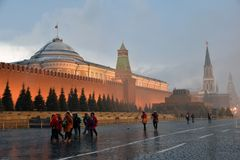 Extreme snowfall on the Red Square in Moscow. stock photography