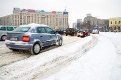 Extreme snowfall - Traffic jam Royalty Free Stock Photo