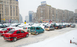 Extreme snowfall - Traffic jam Royalty Free Stock Image