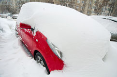 Extreme snowfall - trapped car Stock Photo