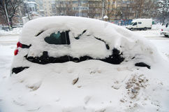 Extreme snowfall - trapped car Royalty Free Stock Image