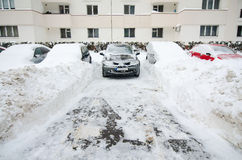 Extreme snowfall - trapped cars Stock Images