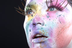 Extreme Spattered Make Up on the Face Stock Photos