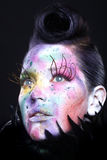 Extreme Spattered Make Up on the Face Royalty Free Stock Images