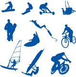 Extreme Sport. Illustrations of extreme sports in silhouette stock illustration