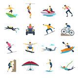 Extreme Sport Activities Flat Icons Collection. With whitewater canoeing skydiving and free stile motocross isolated vector illustrations Stock Photos