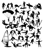Extreme Sport Activity Silhouettes Stock Images