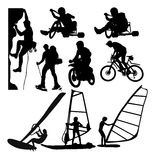 Extreme Sport Activity Silhouettes Stock Photo
