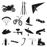 Extreme sport black icons in set collection for design.Different kinds of sports vector symbol stock web illustration. Extreme sport black icons in set Royalty Free Stock Photography