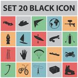 Extreme sport black icons in set collection for design.Different kinds of sports vector symbol stock web illustration. Extreme sport black icons in set Stock Image