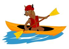 Extreme sport, boating, dog loves to ride on the boat stock illustration
