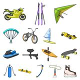 Extreme sport cartoon icons in set collection for design.Different kinds of sports vector symbol stock web illustration. Extreme sport cartoon icons in set Stock Photo