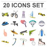 Extreme sport cartoon icons in set collection for design.Different kinds of sports vector symbol stock web illustration. Extreme sport cartoon icons in set Royalty Free Stock Photo
