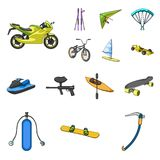 Extreme sport cartoon icons in set collection for design.Different kinds of sports vector symbol stock web illustration. Extreme sport cartoon icons in set Royalty Free Stock Image