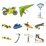 Extreme sport cartoon icons in set collection for design.Different kinds of sports vector symbol stock web illustration. Extreme sport cartoon icons in set Stock Photography