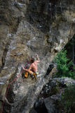 Extreme sport climbing. Rock climber struggle for success. Royalty Free Stock Photography