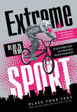 Extreme sport. Cyclist labeled extreme sports on urban landscape Royalty Free Stock Images