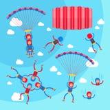 Extreme sport die vectorillustratieinzameling skydiving van solo, achter elkaar en groepsvluchten Stock Foto's