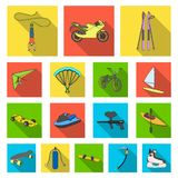 Extreme sport flat icons in set collection. For design.Different kinds of sports vector symbol stock  illustration Royalty Free Stock Photos