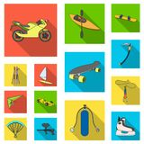 Extreme sport flat icons in set collection for design.Different kinds of sports vector symbol stock web illustration. Extreme sport flat icons in set collection Royalty Free Stock Photography