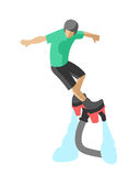 Extreme sport flyboard summer action splash active man flat vector illustration water fly watercraft propulsion. Man flyboard in action summer hobby outdoor Stock Photo