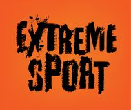 Extreme Sport Lettering. Off-Road EXTREME SPORT hand drawn grunge lettering on a bright orange background. Tire tracks word made from unique letters. Editable Royalty Free Illustration