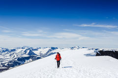 Extreme Sport. Lone hiker in winter mountains Stock Photography