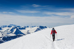 Extreme Sport. Lone hiker in winter mountains Stock Image