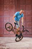 Extreme sport op BMX-fiets Stock Afbeelding