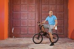 Extreme sport op BMX-fiets stock afbeeldingen