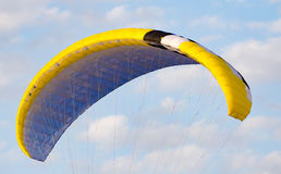 Extreme sport parachute in the sky. Extreme sport in the sky on a parachute royalty free stock photo