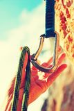 Climbers rope and quick-draws Royalty Free Stock Images