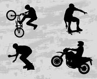 Extreme sport silhouettes. On the scratched background - vector Royalty Free Stock Photos