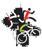 Extreme sport triathlon. Three icons symbolizing triathlon on the grunge background . Suitable for printing T-shirts. Vector illustration Stock Photos