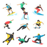Extreme sport vector people. Parasailing, wakeboard, snowboard, rocker, snowboards, flybord, parkour, extreme, flying Royalty Free Stock Photography