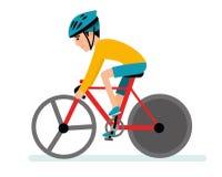Extreme sporten Een atleet die een helm op een fiets dragen Illustratie op witte achtergrond stock illustratie