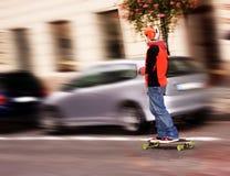 Extreme sporten - straat het met een skateboard rijden Stock Fotografie