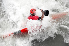 Extreme sports. Extreme water sports - person kayaking Stock Image