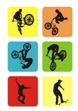 Extreme Sports. Vector extreme sport - six silhouettes. You can repaint any color Royalty Free Stock Photo