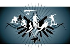 Extreme sports. Graphic composition with several sports silhouettes arround two hands Royalty Free Stock Photos