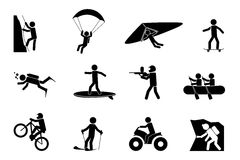 Extreme sports or adventure icons Stock Images