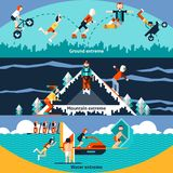 Extreme Sports Banners. Extreme water ground mountain sports horizontal banners set isolated vector illustration Stock Photography