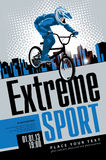 Extreme sports. Cyclist labeled extreme sports on urban landscape stock illustration