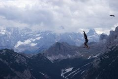 Extreme sports in the Dolomites, Italy stock photography