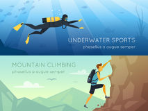 Extreme Sports 2 Flat Horizontal Banners. Banners with underwater diving and mountains rock climbing isolated vector illustration Royalty Free Stock Images