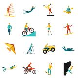 Extreme Sports Flat Icons Set. With kite cycling rowing isolated vector illustration Royalty Free Stock Image